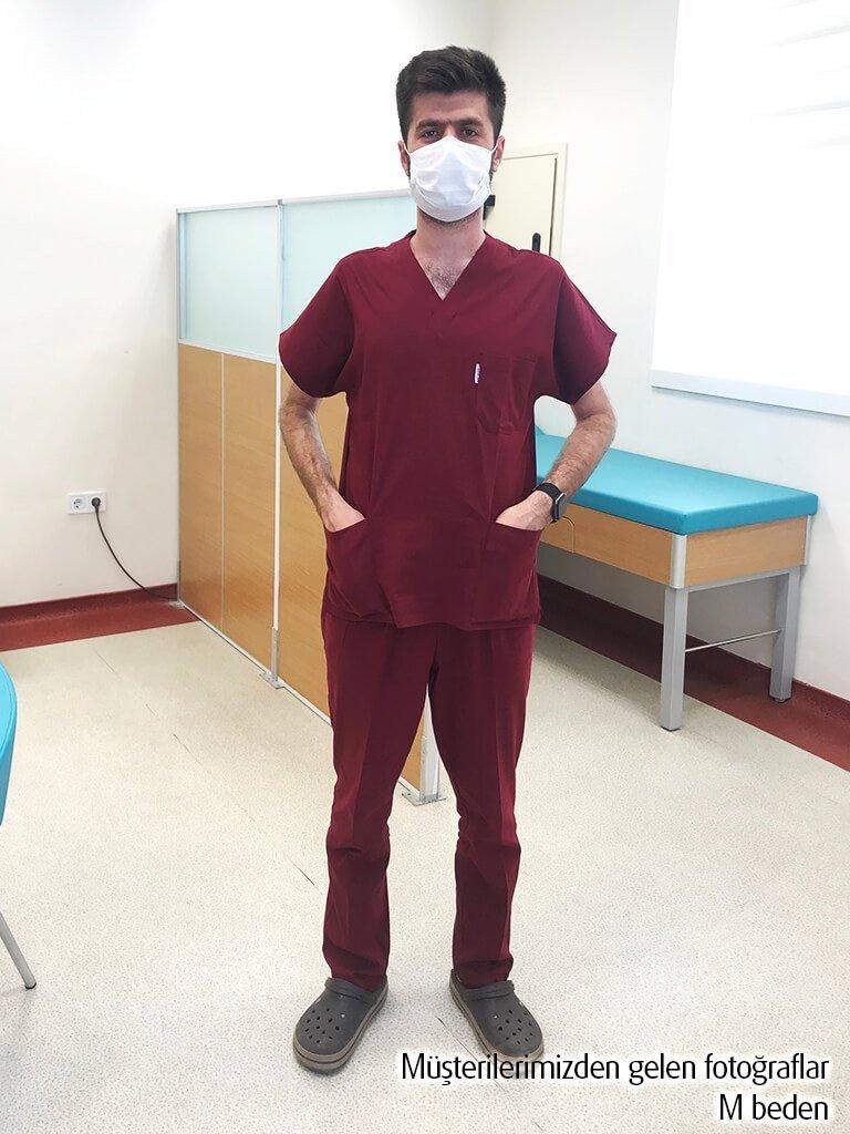 Erkek Bordo Likralı Doktor ve Hemşire Forması
