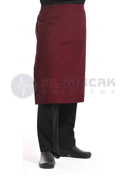 Yarım Boy - Bordo Mutfak Önlüğü (dokuma kumaş)
