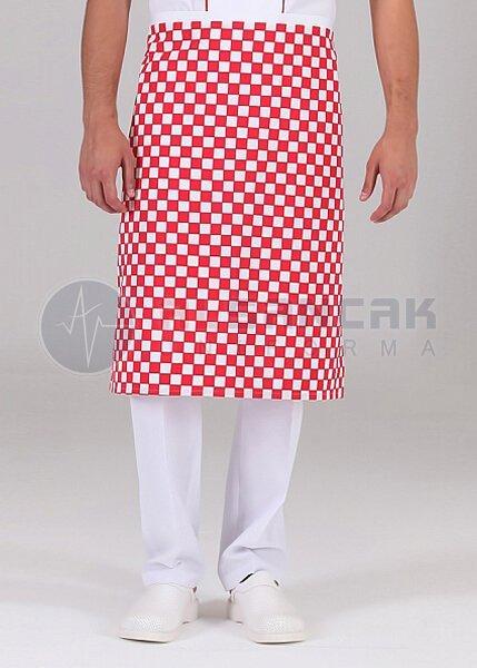 Yarım Boy - Kırmızı Damalı Mutfak Önlüğü (dokuma kumaş)