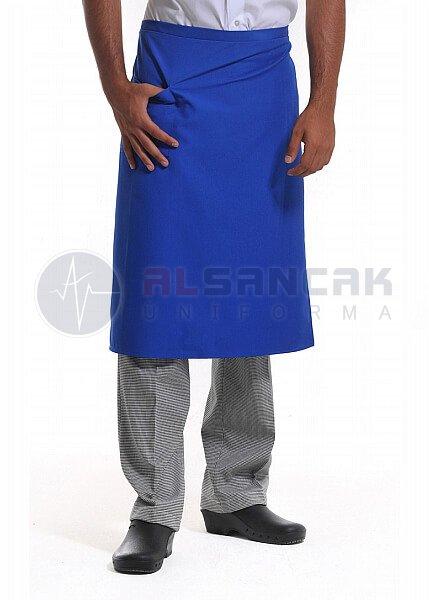 Yarım Boy - Saks Mavi Mutfak Önlüğü (dokuma kumaş)