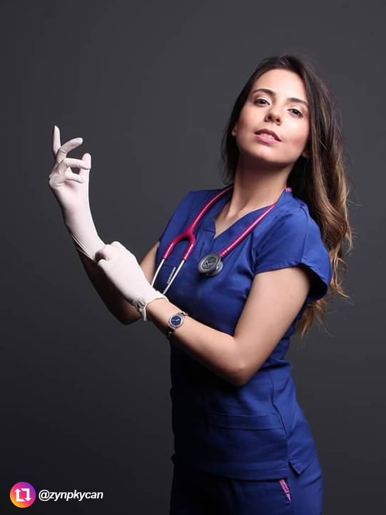Saks Mavi Likralı Doktor ve Hemşire Forması