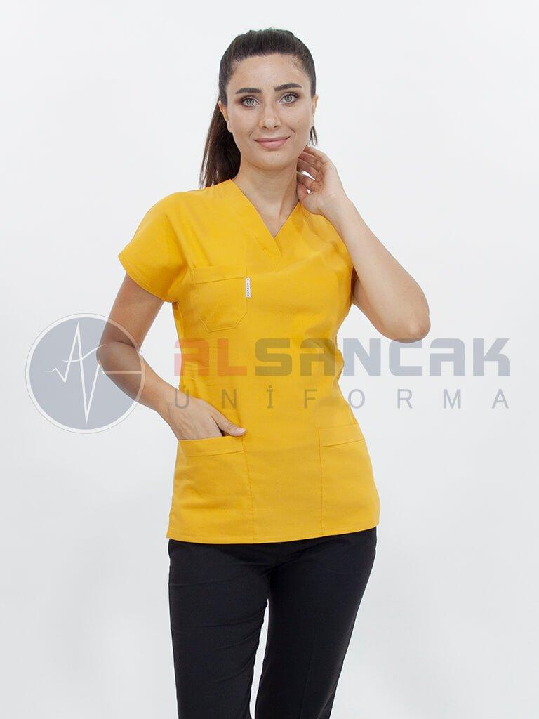 Kadın Cotton Flex® Hardal-Siyah Likralı Doktor ve Hemşire Forması Takımı (Sıradışı rahatlık!)
