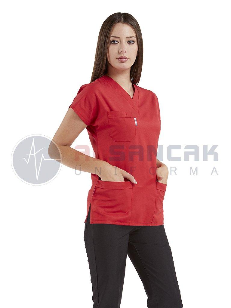 Kırmızı/Siyah Likralı Doktor ve Hemşire Forması