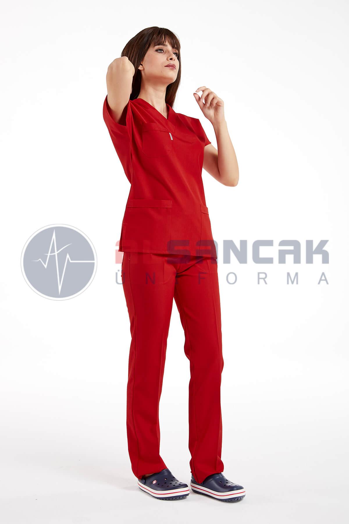 Koyu Kırmızı Likralı Doktor ve Hemşire Forması