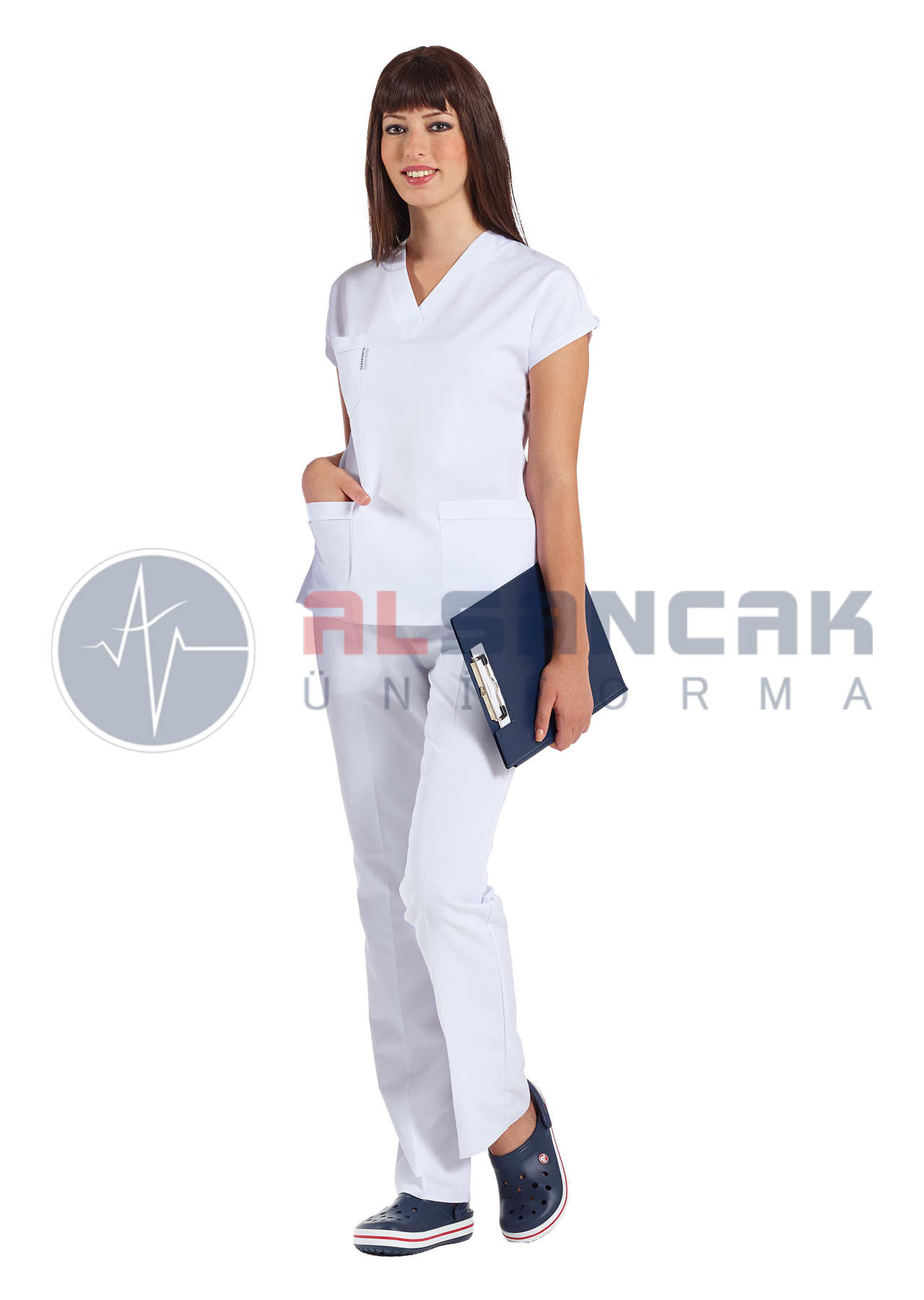 Kadın Beyaz Yarasa Kol Alpaka Doktor ve Hemşire Forması Takımı