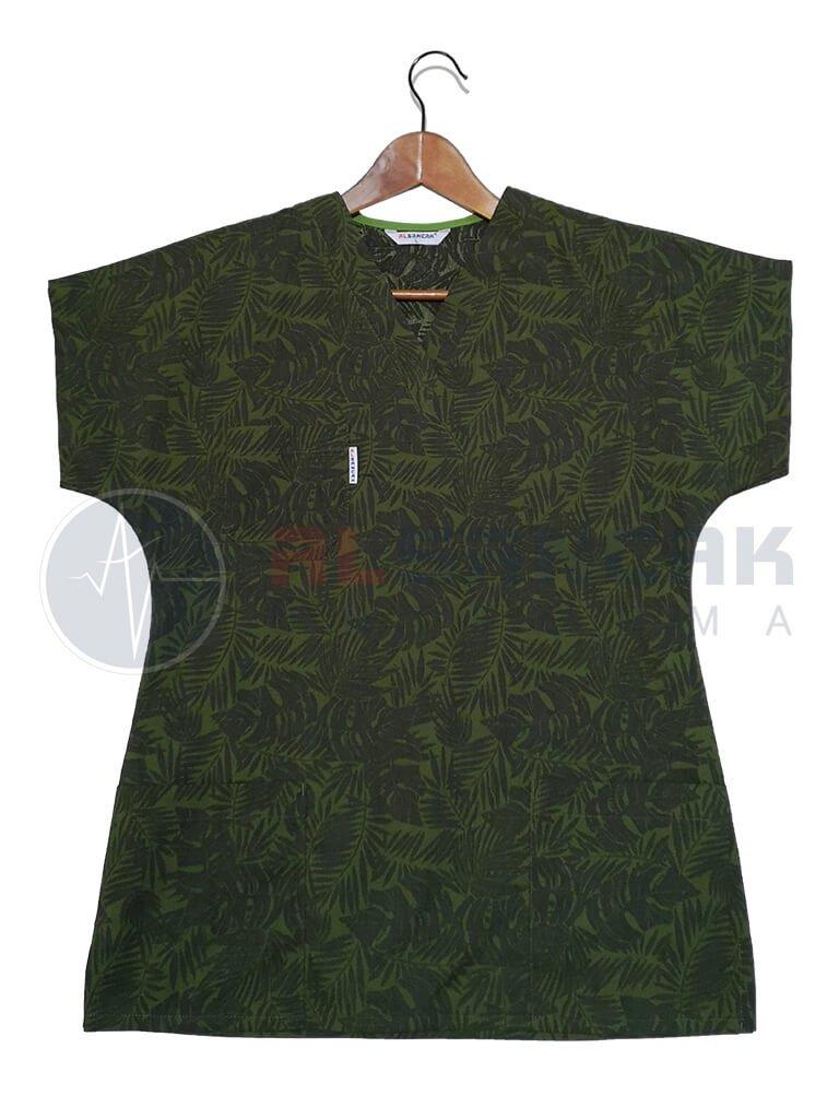 Kadın Yeşil Yaprak Desenli Likralı Yarasa Kol Terikoton Doktor ve Hemşire Forması (Tek Üst)