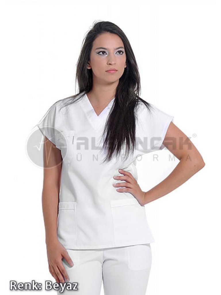 Kadın Yarasa Kol Alpaka Doktor ve Hemşire Forması (Tek Üst)