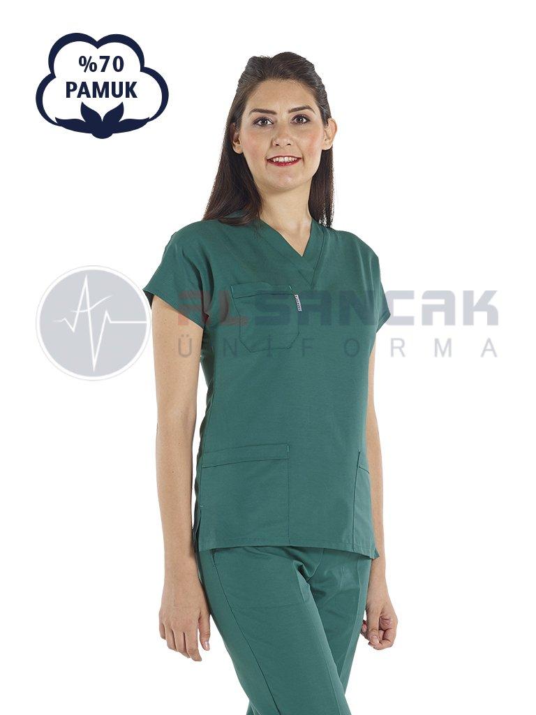 Cerrahi Yeşil Pamuklu Doktor ve Hemşire Forması