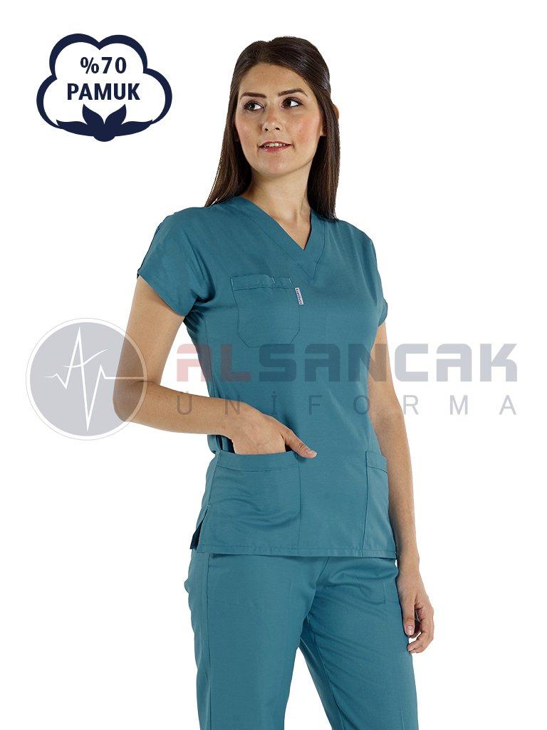 Petrol Yeşili Pamuklu Doktor ve Hemşire Forması