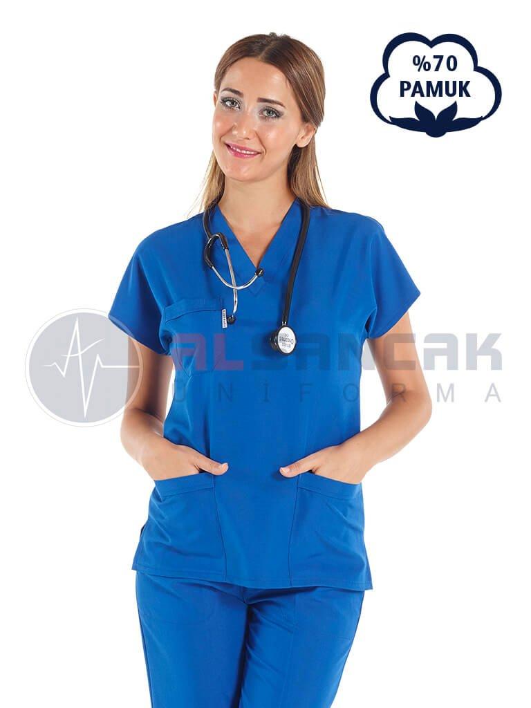 Saks Mavi Pamuklu Doktor ve Hemşire Forması