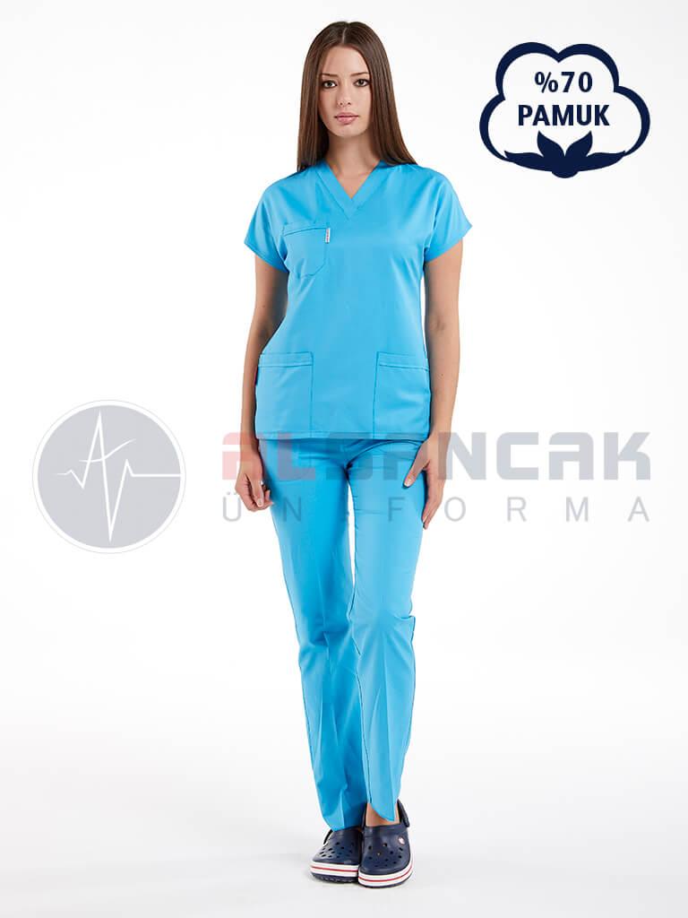 Turkuaz Mavi Pamuklu Doktor ve Hemşire Forması