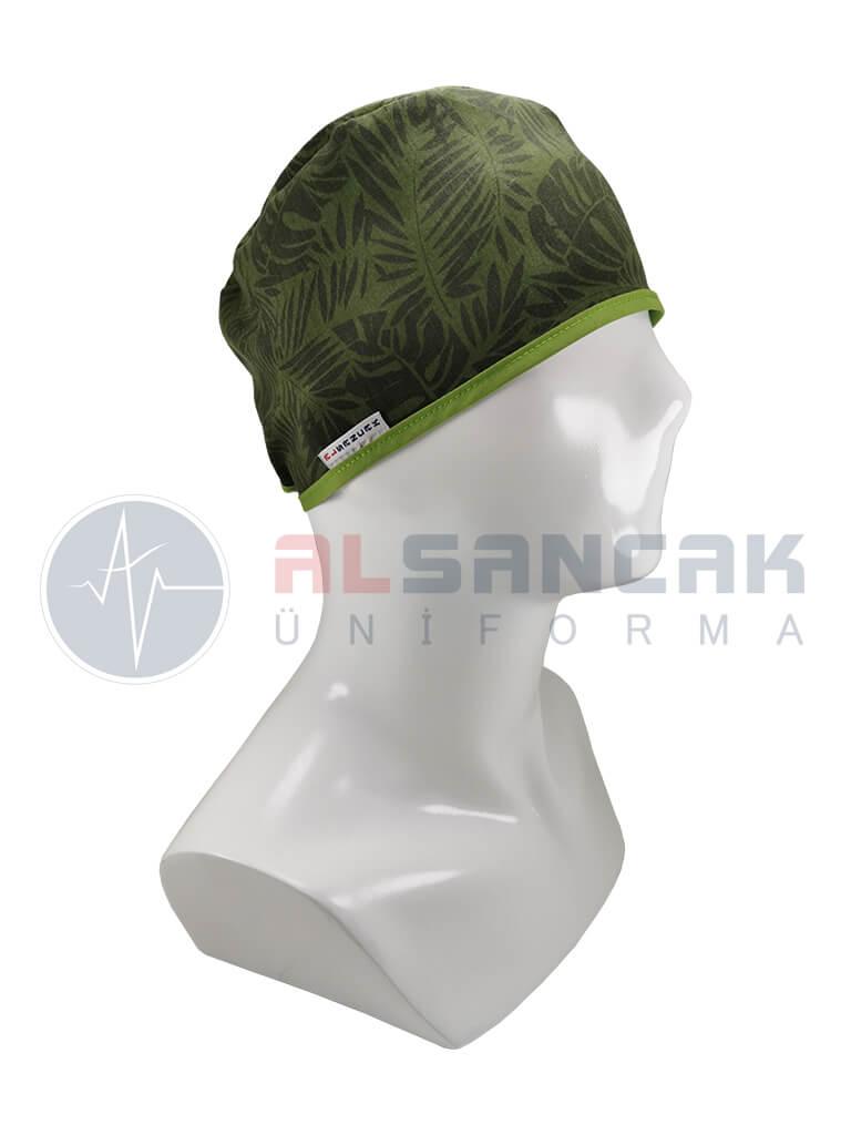 Yeşil Yaprak Desenli Likralı Bone