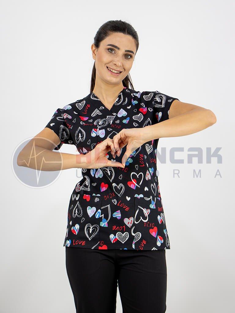 Kadın Kalp Desenli Likralı Terikoton Doktor ve Hemşire Forması (tek üst)