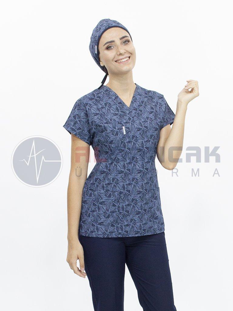 Kadın Lacivert Yaprak Desenli Yarasa Kol Terikoton Doktor ve Hemşire Forması (Tek Üst)