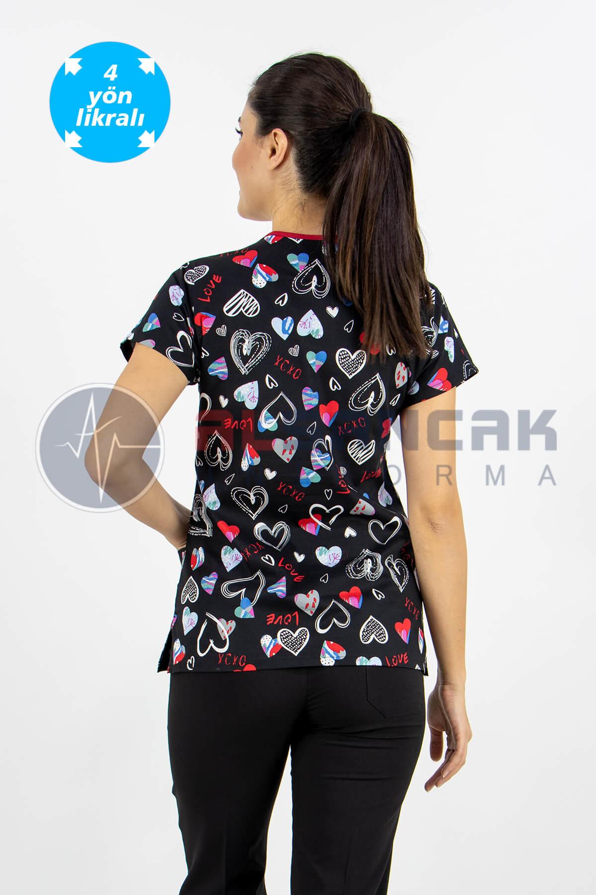 Scrubs Flex Siyah Kalp Desenli Doktor ve Hemşire Forması