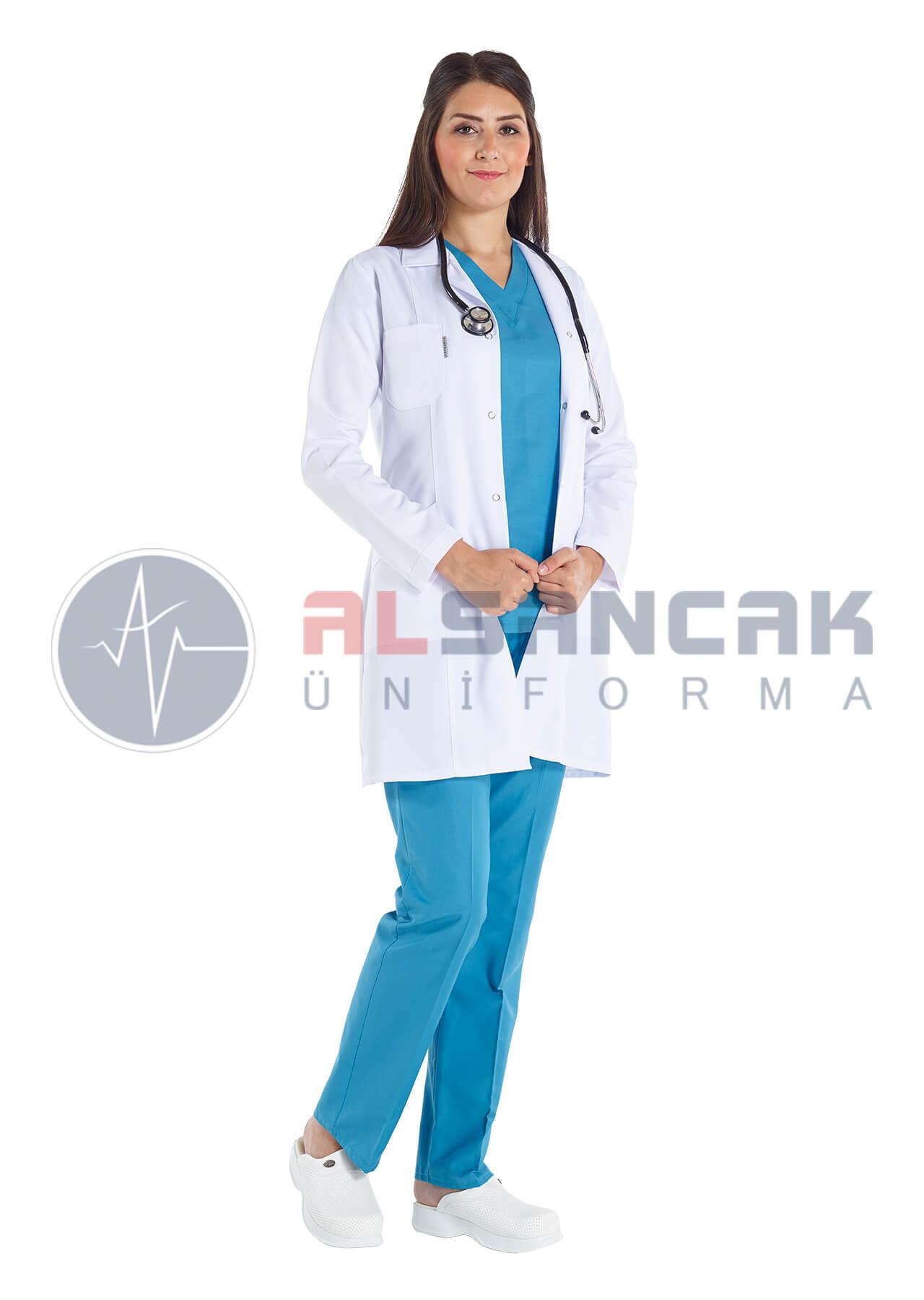 Kadın Doktor Önlüğü - Spor Yaka - Alpaka Kumaş - Uzun Kollu (fit kesim)