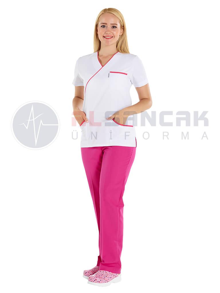 Fuşya Biyeli - Ekol Modeli Doktor ve Hemşire Forması