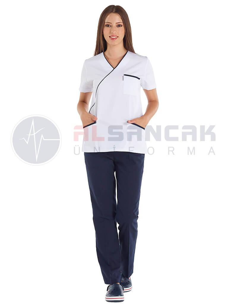 Lacivert Biyeli - Ekol Modeli Doktor ve Hemşire Forması