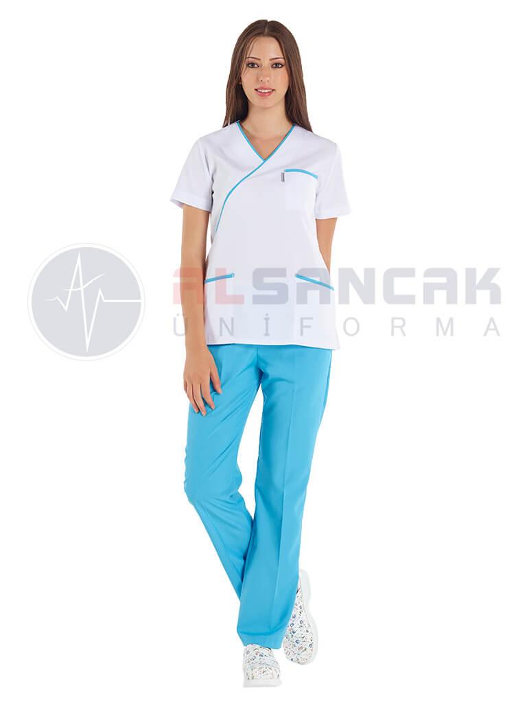 Ekol Modeli - Turkuaz Biyeli Doktor ve Hemşire Forması Takımı