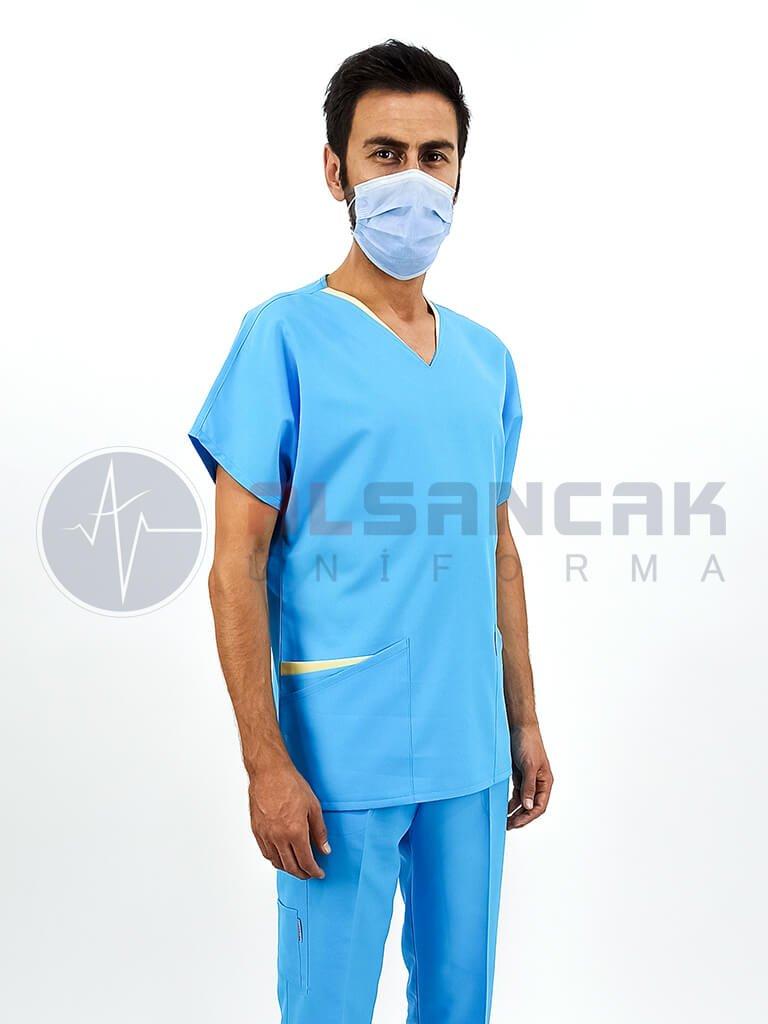 Erkek Kamu Hastaneleri Hemşire Forması - Twin Model Turkuaz Mavi