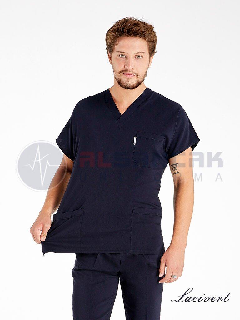 Erkek Özel Üretim Cotton Flex® Likralı Terikoton Doktor ve Hemşire Forması
