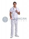Erkek Beyaz Yarasa Kol Alpaka Doktor ve Hemşire Forması Takımı