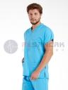 Erkek Turkuaz Mavi Pamuklu Doktor ve Hemşire Forması
