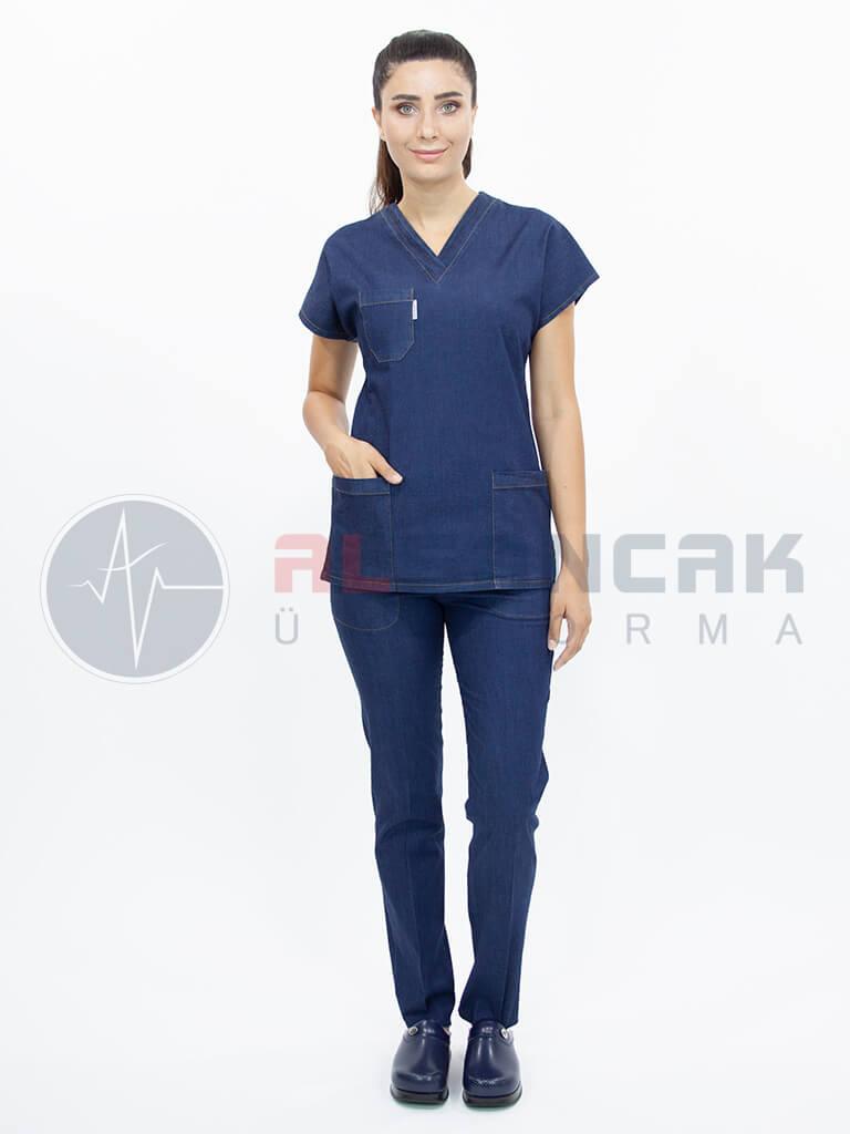 Koyu Mavi Likralı Jean Doktor ve Hemşire Forması