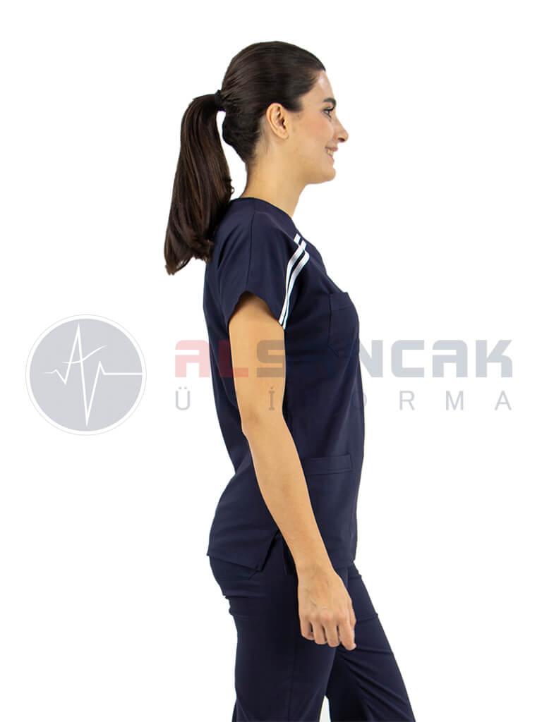 Biyeli Lacivert Likralı Doktor Hemşire Forması