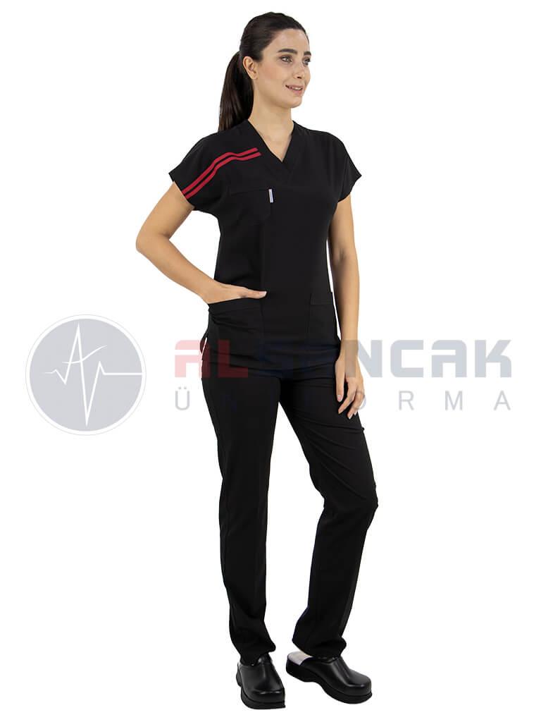 Kadın Biyeli Cotton Flex® Siyah Likralı Doktor ve Hemşire Forması
