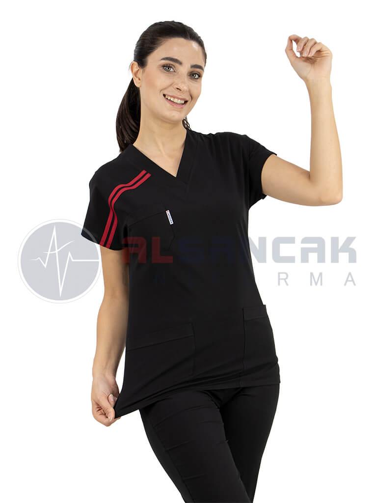 Biyeli Siyah Likralı Doktor Hemşire Forması