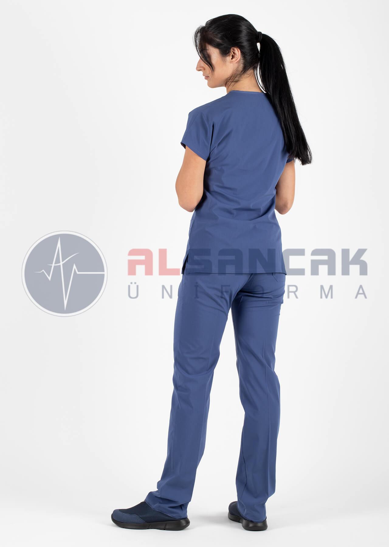 Fırtına Mavi Likralı Doktor ve Hemşire Forması
