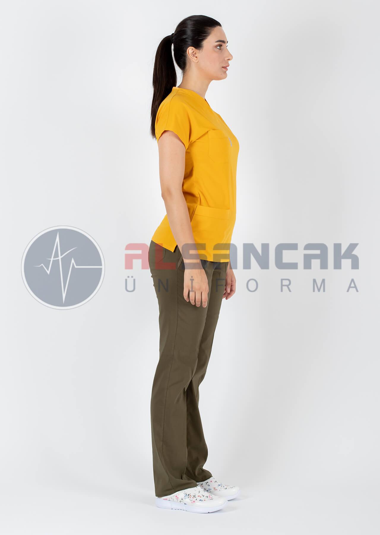 Hardal/Haki Likralı Doktor Hemşire Forması Takımı