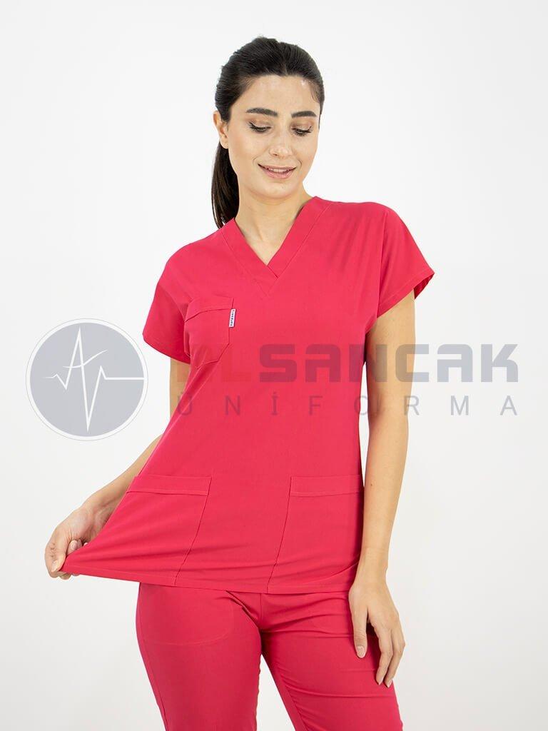 Kadın Cotton Flex® Nar Çiçeği Likralı Terikoton Doktor ve Hemşire Forması