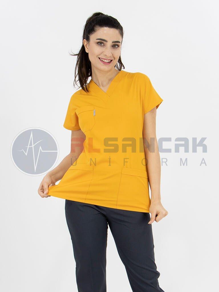 Hardal/Antrasit Likralı Doktor Hemşire Forması Takımı
