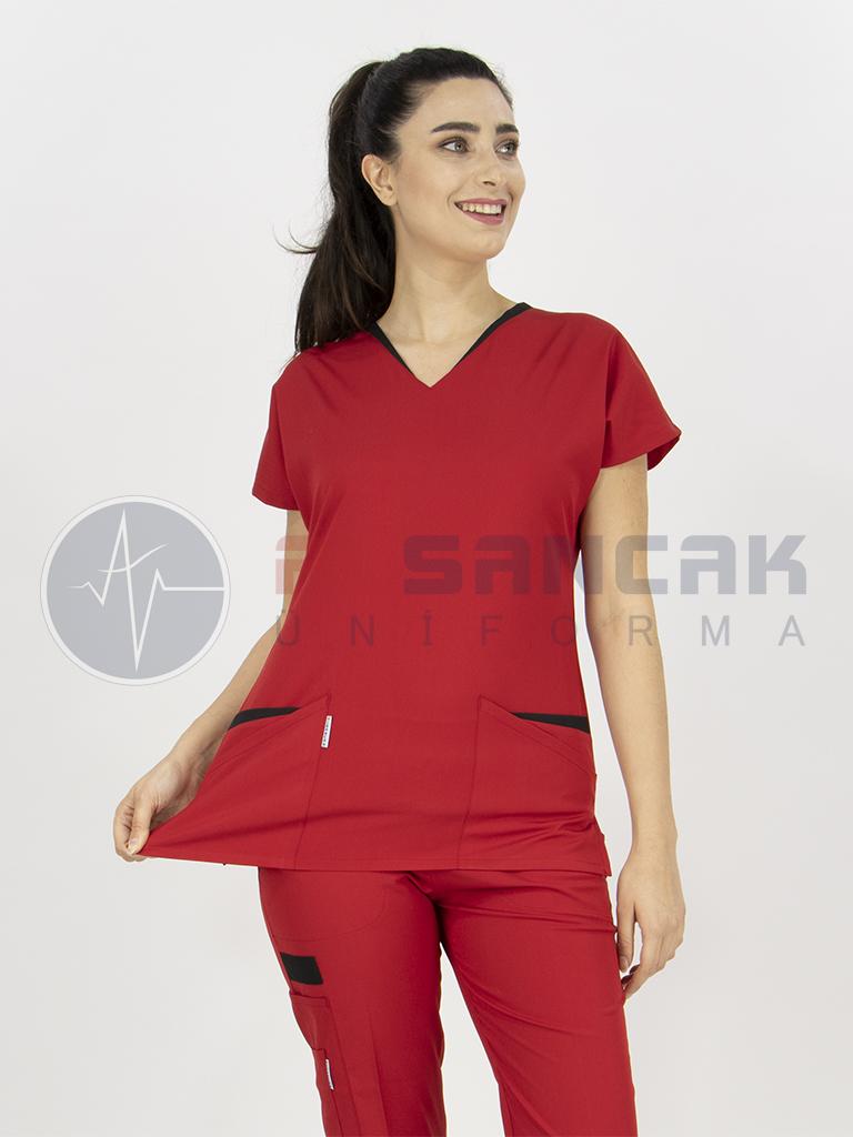 Likralı Kırmızı Twin Modeli Hemşire Forması Takımı