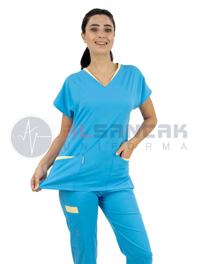 Kadın Likralı Kamu Hastaneleri Hemşire Forması - Twin Model Turkuaz Mavi