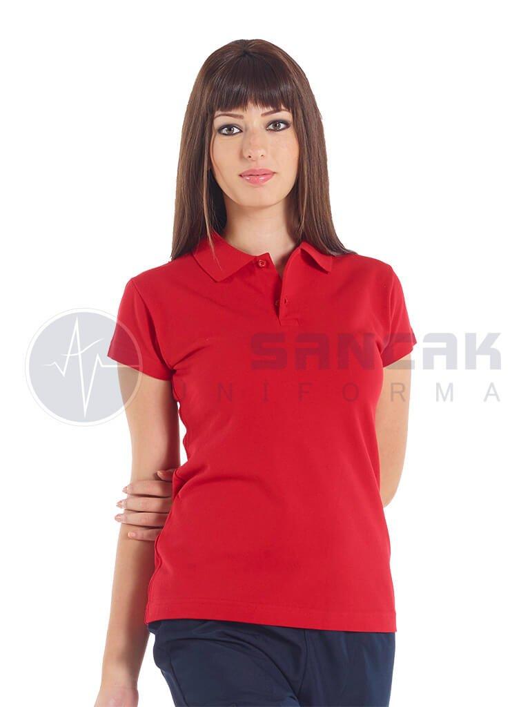 Kadın Polo Yaka Kırmızı Lacoste T-shirt
