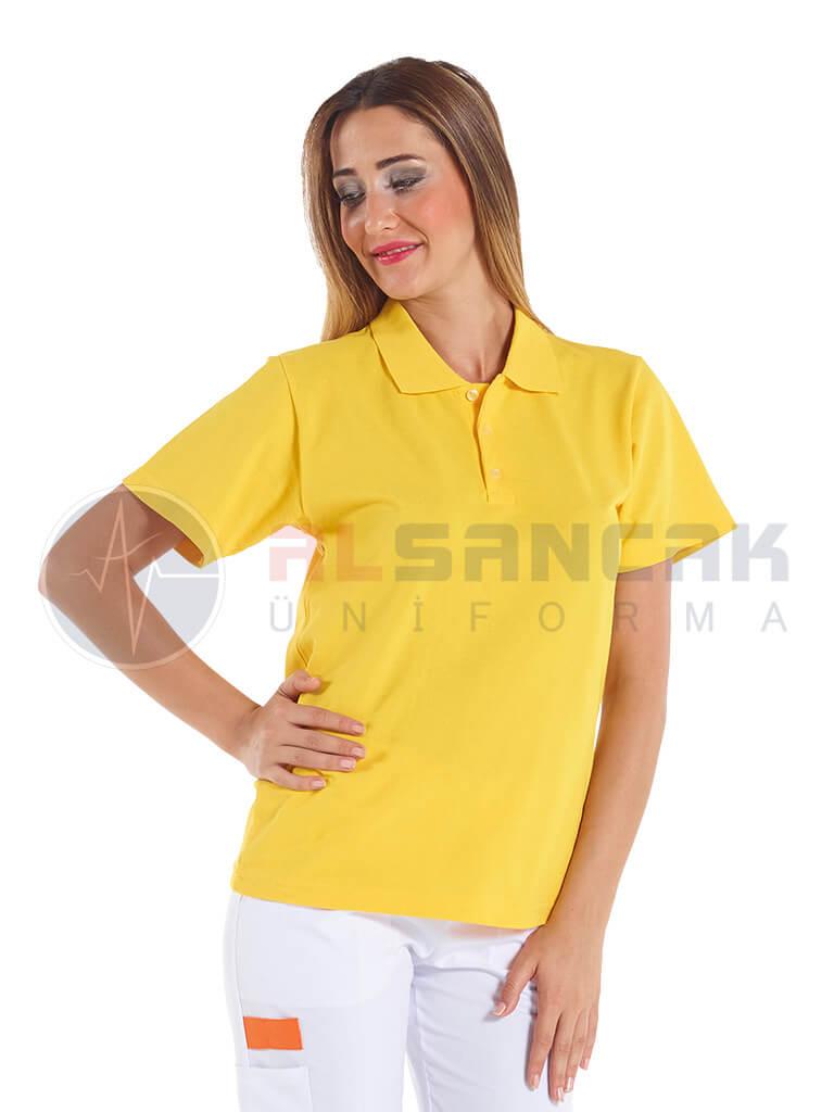 Kadın Polo Yaka Sarı Lacoste T-shirt