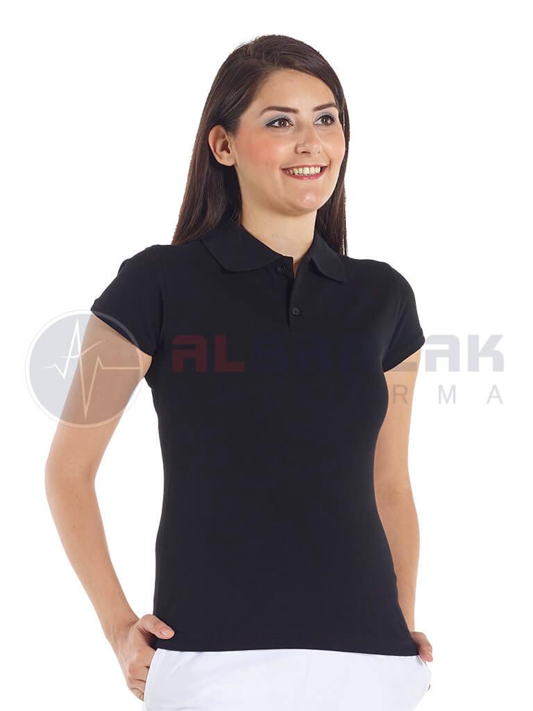 Siyah Kadın Polo Yaka Lacoste T-shirt