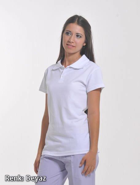 Beyaz Kadın Polo Yaka Lacoste T-shirt