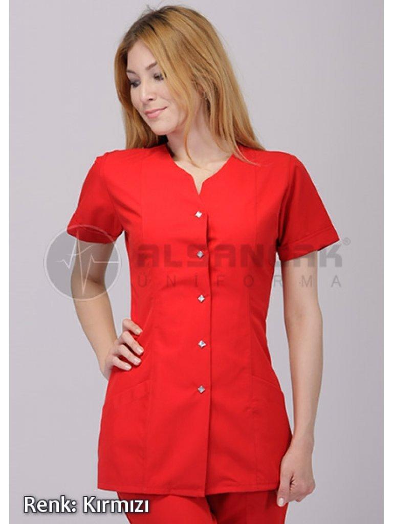 Blanca Kırmızı Doktor ve Hemşire Forması Ceketi
