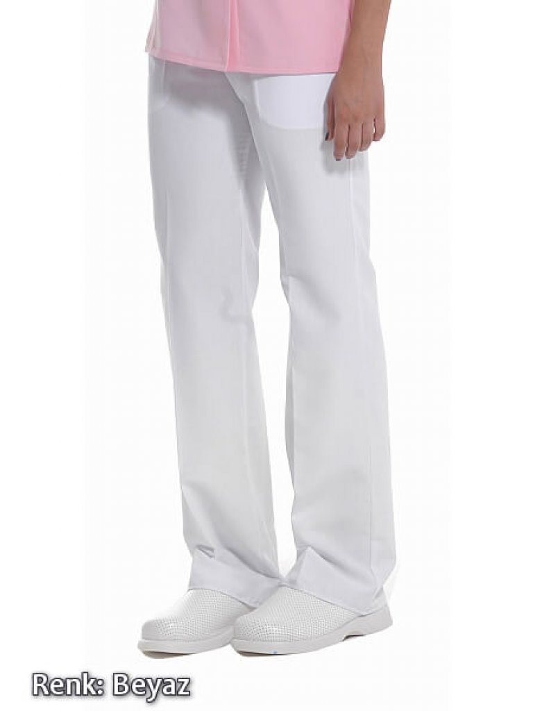 Kadın Beyaz Alpaka Kumaş Doktor ve Hemşire Pantolonu