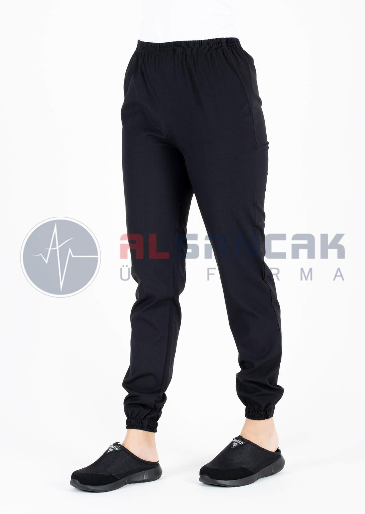 Siyah Likralı Sweat Doktor Hemşire Pantolonu
