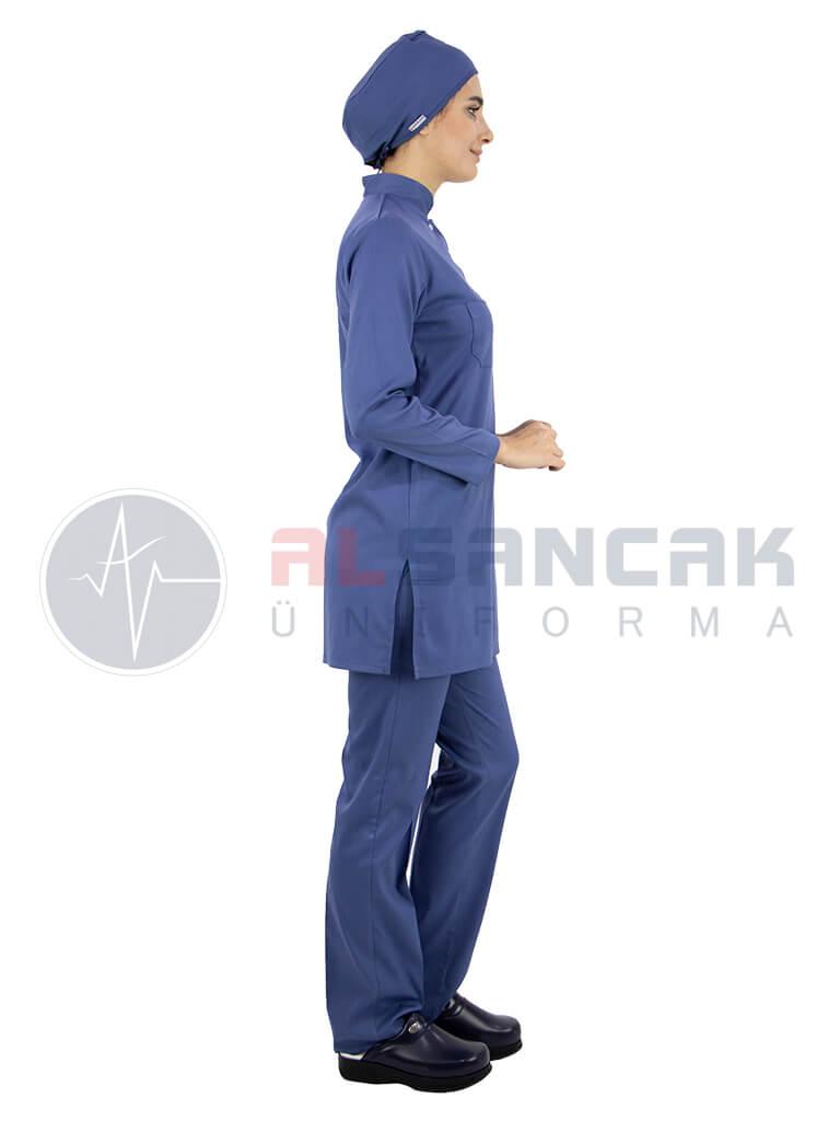 Fırtına Mavi Likralı Tesettür Hemşire ve Doktor Forması