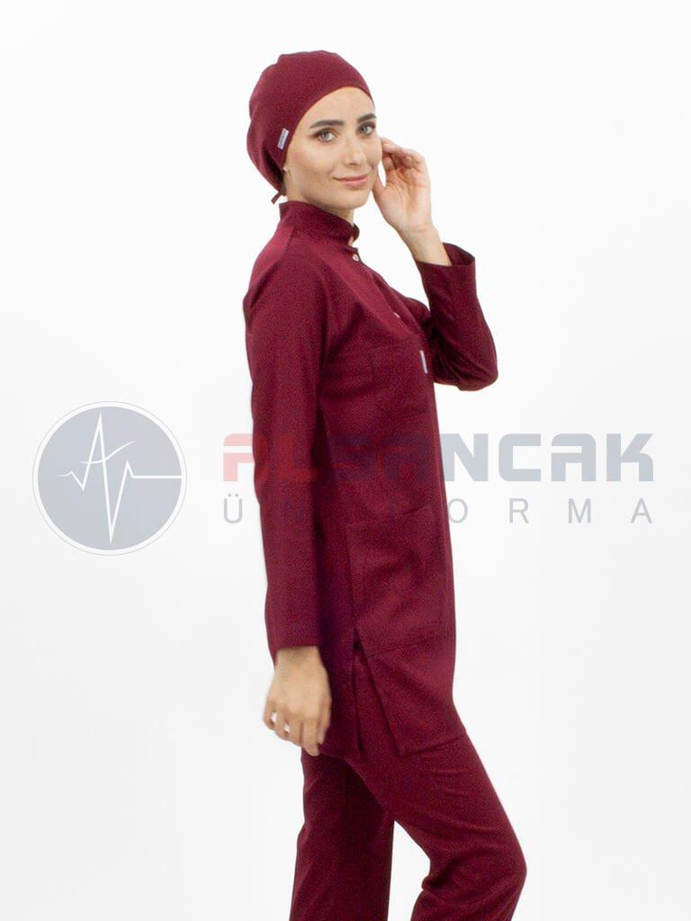 Tesettür Hemşire ve Doktor Forması Çıtçıtlı Model - Bordo