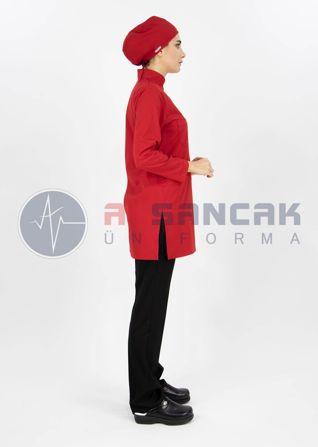 Kırmızı/Siyah Likralı Tesettür Hemşire ve Doktor Forması