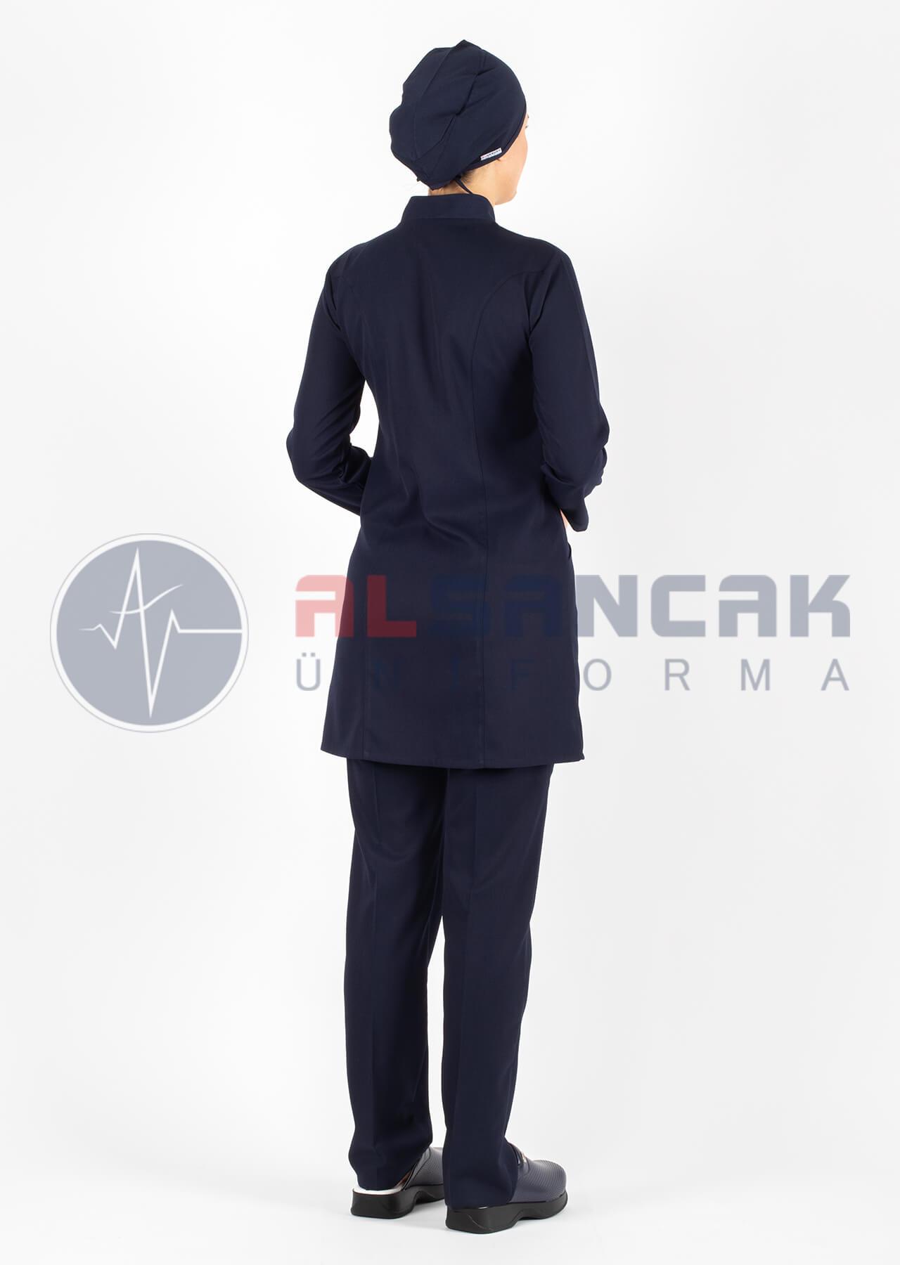 Tesettür Luxe Model Lacivert Hemşire ve Doktor Forması Takımı