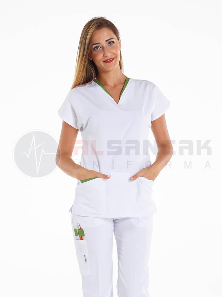 Outlet - Beyaz Twin Modeli - Fıstık Yeşil Biyeli Hemşire Forması