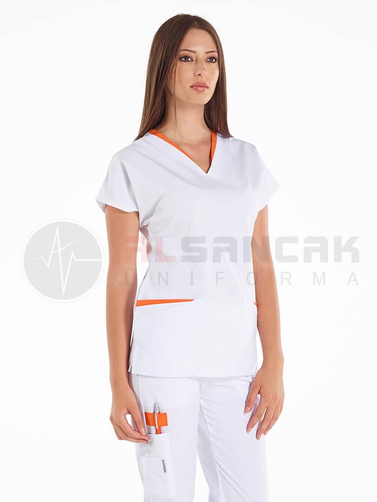 Beyaz Twin Modeli - Turuncu Biyeli Hemşire Forması